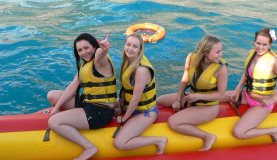 girls on a banana boat on the gran canaria boat party