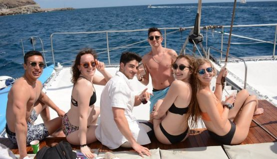 friends on the boat party in Gran Canaria